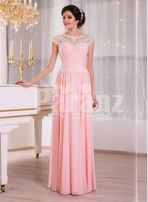 Women's baby pink glam evening gown with lace appliquéd royal bodice and long tulle skirt