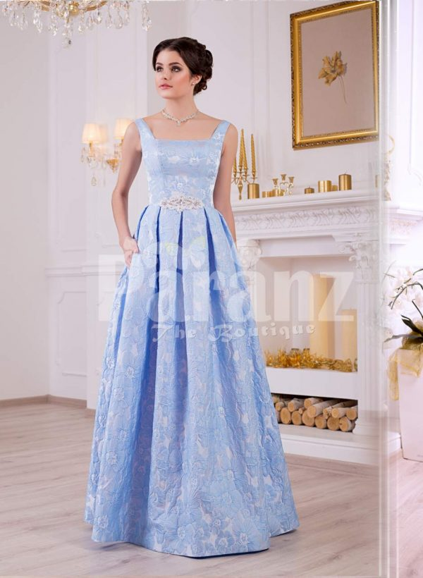 Women's elegant rich satin self-floral work floor length evening gown in sky blue