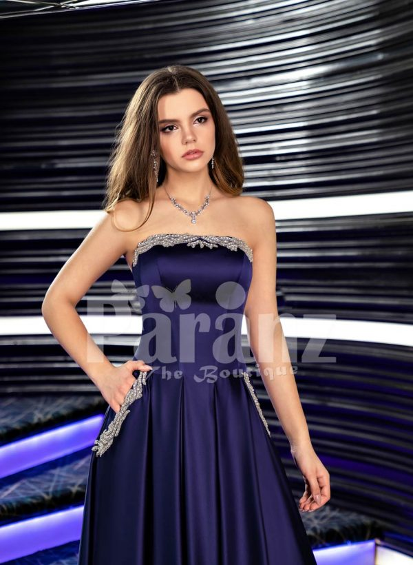 Women's navy floor length rich satin evening gown with stylish off-shoulder bodice