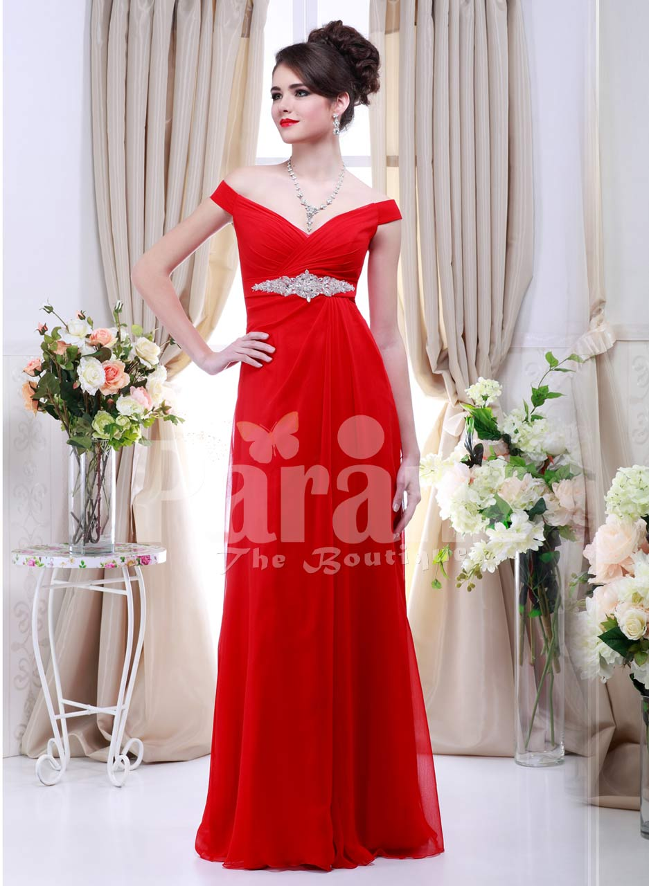 Women's off-shoulder vibrant red floor length evening gown with rich rhinestone work
