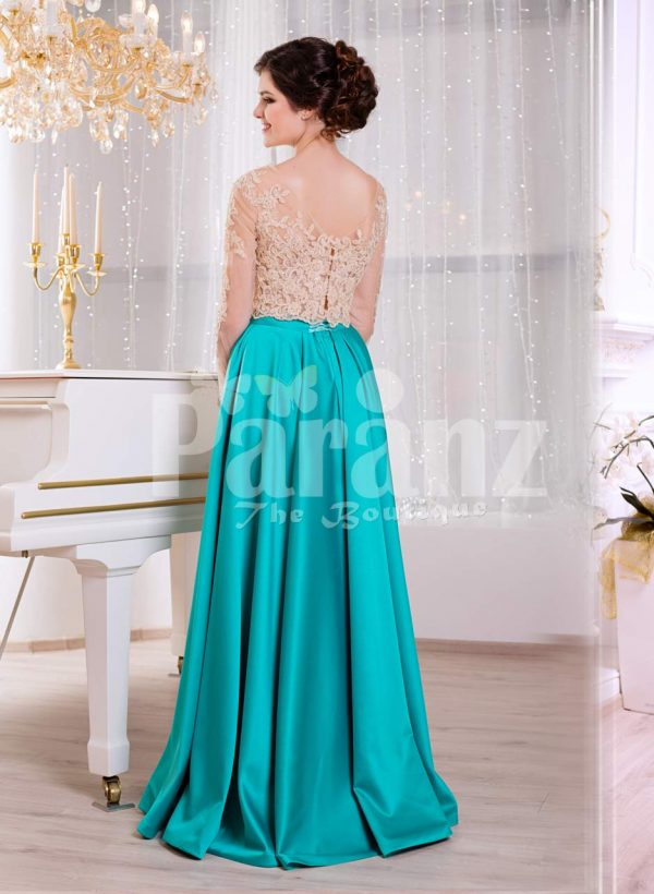 Women's rich rhinestone work royal bodice elegant gown with metallic mint satin skirt back side view