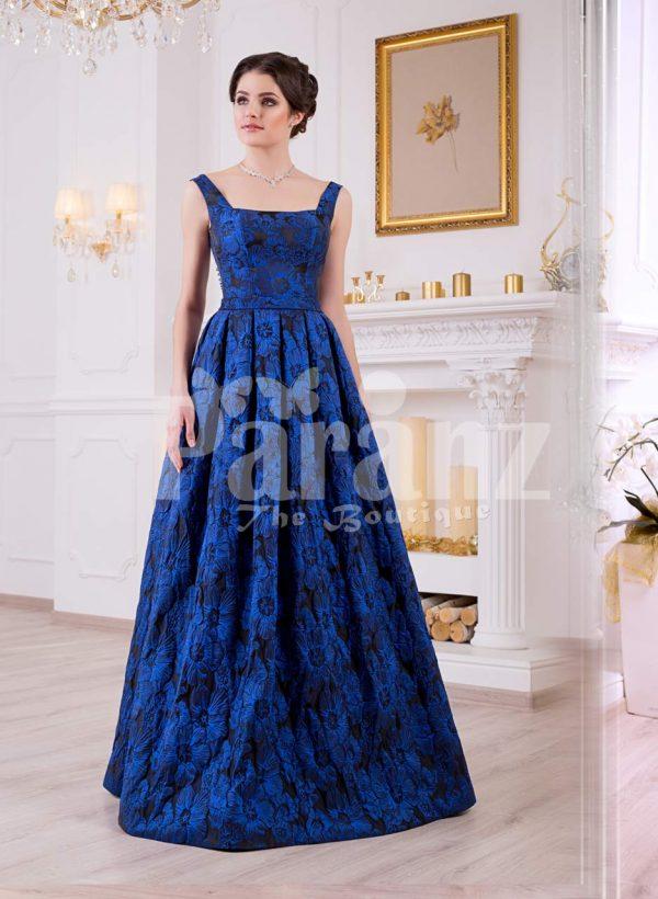 Women's rich satin self flower printed floor length sleeveless satin gown