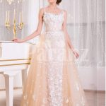 Women's satin-sheer sleeveless evening gown with flared tulle skirt and all over appliqués