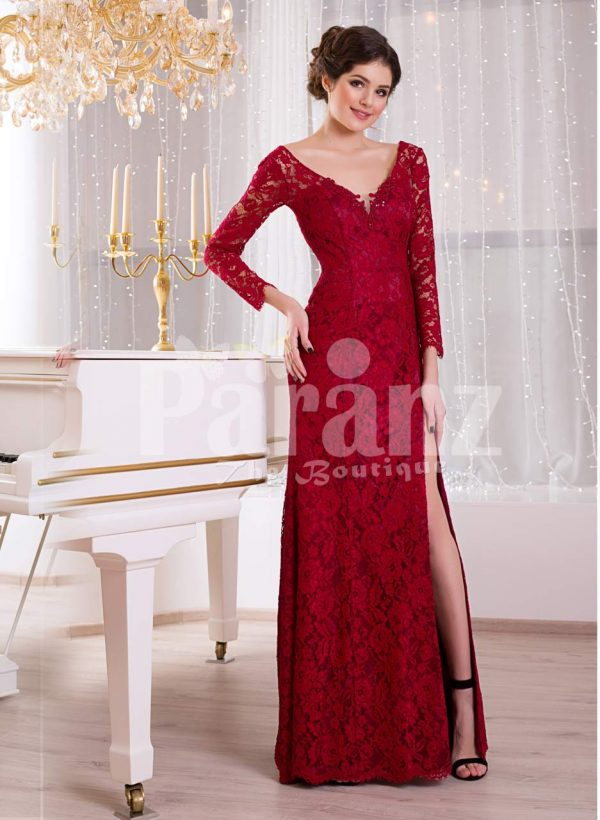 Women's side slit floor length full sleeve all over lace work red evening gown