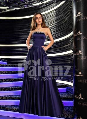 Womens navy floor length rich satin evening gown with stylish off-shoulder bodice