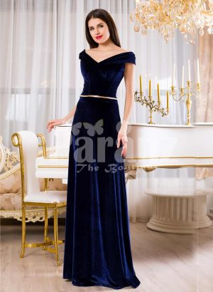 Womens velvet navy floor length evening gown with elegant off-shoulder bodice