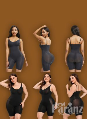 Adjustable Buckle Attach Tummy Control Body Shaper Black