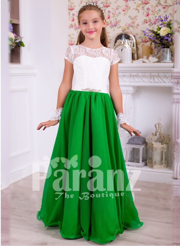 Beautiful bottle green skirt and pearl white bodice party gown for girls