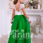 Beautiful bottle green skirt and pearl white bodice party gown for girls back side view