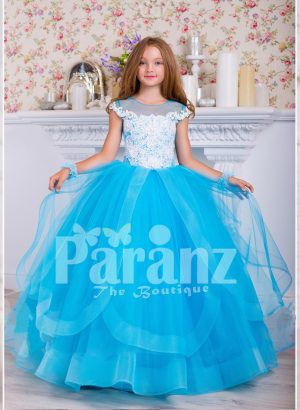 Beautiful floor length multi layer tulle skirt dress with floral work bodice