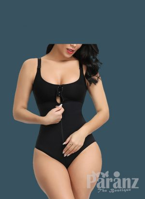 Front Zipper Closure & Waist Slimmer Body Shaper Suit In black f (2)