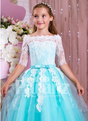 Off-shoulder rich white lace work mint blue floor length tulle skirt gown