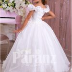 Pearl white flared and floor length satin-tulle skirt dress with rhinestone-thread work bodice back side view