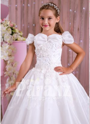 Pearl white flared and floor length satin-tulle skirt dress with rhinestone-thread work bodice for girls