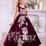 Pigmented burgundy floor length velvet dress with big flower prints for girls