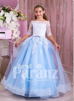 Princess Style flared tulle skirt sky blue gown with pearl white off-shoulder bodice