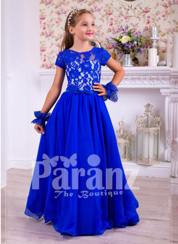 Rich royal blue delicate lace work floor length satin skirt party gown
