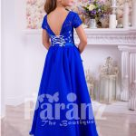 Rich royal blue delicate lace work floor length satin skirt party gown back side view