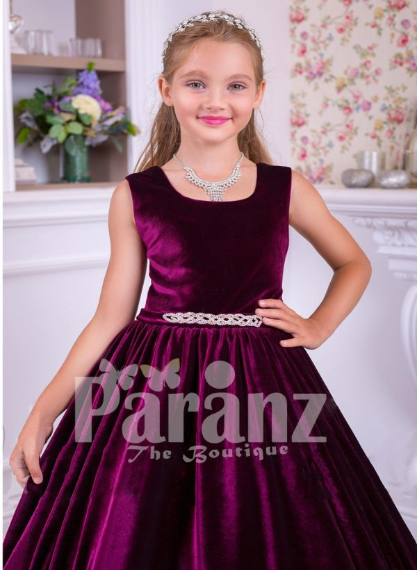 Rich satin floor length baby party gown with tulle skirt underneath and rhinestone waist belt