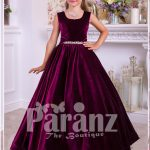 Rich satin floor length baby party gown with tulle skirt underneath and rhinestone waist belt for girls