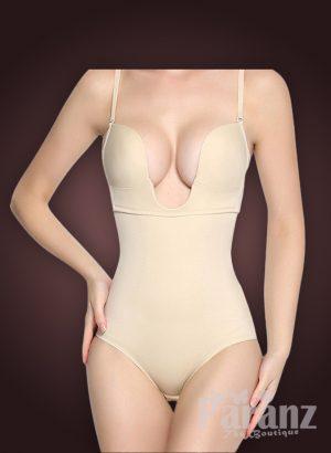 Semi-open bust style buckle attach strappy sleeve underwear body shaper new