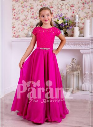 Soft and lightweight rich satin skirt and delicate lacework bodice party gown in fuchsia pink