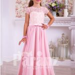 Soft and sleek rich satin pink floor length dress with lace-sheer-satin bodice