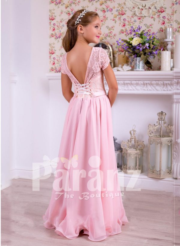 Soft and sleek rich satin pink floor length dress with lace-sheer-satin bodice back side view