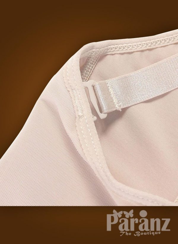 Open bust style elastic strap sleeve front zipper closure body shaper for Women Raw view (2)