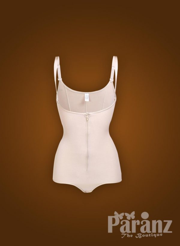 Open bust style elastic strap sleeve front zipper closure body shaper for Women Raw view (3)