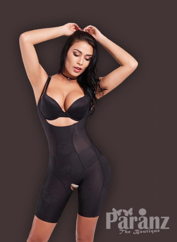 Open-bust style tummy slimming and thigh slimming body shaper