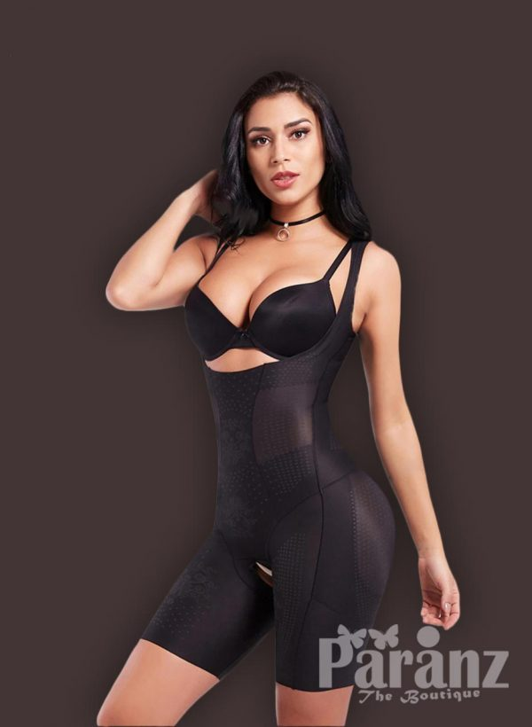 Open-bust style tummy slimming and thigh slimming body shaper side view