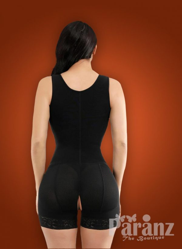 Sleeveless 3 rows front hook closure full body shaper for women back side view