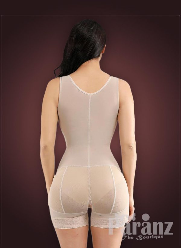 Sleeveless front hook closure custom fit tummy slimming body shaper back side view