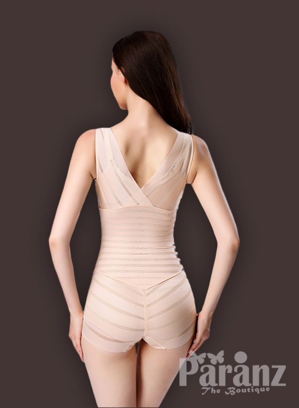 Sleeveless open-bust style high waist slimming underwear body shaper back side view