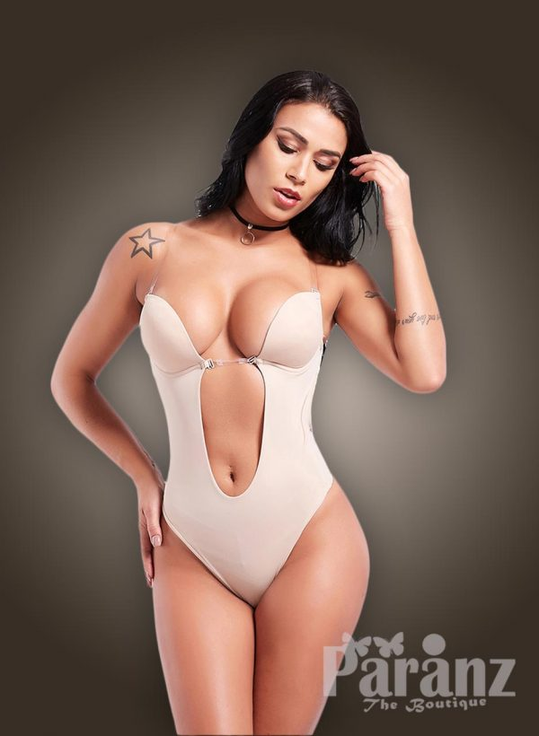 Transparent strappy sleeve low waist slimming pre cup attach body shaper