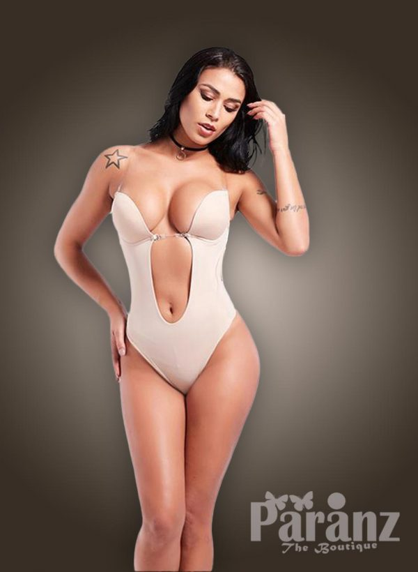 Transparent strappy sleeve low waist slimming pre cup attach body shaper For women's