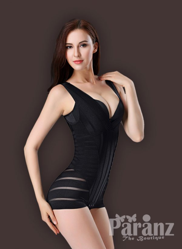 Women's sleeveless and open-bust style tummy slimming black body shaper side view