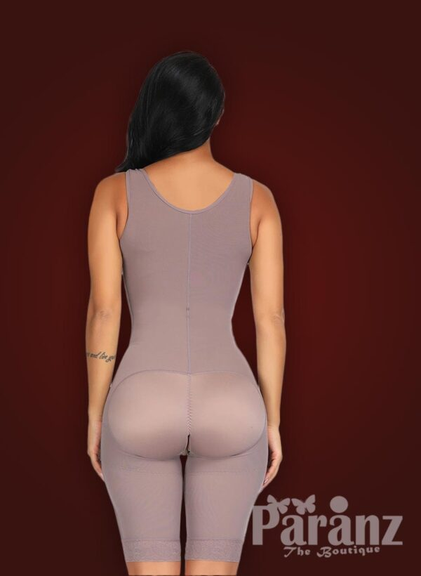 3 row hook closure sleeveless full body shaper with open stall new back side view