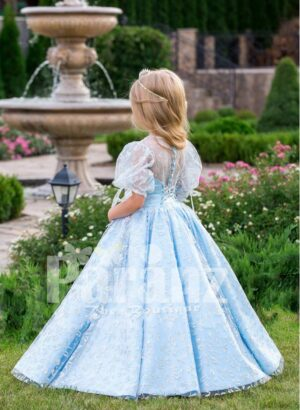 Arabian sheer sleeve metallic sky blue baby party gown with flared tulle skirt and glitz work back side view