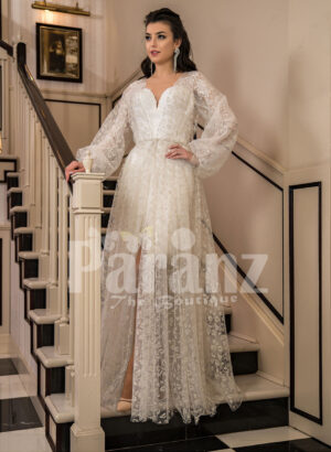 Arabian style sleeve tulle gown with all over lace work and royal bodice