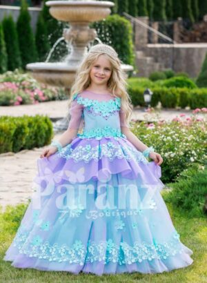 Beautiful floral work flared tulle skirt baby gown with soft tulle overskirt