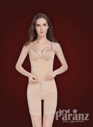 Beige open-bust style elastic strappy sleeve multi-layer waist slimming body shaper new