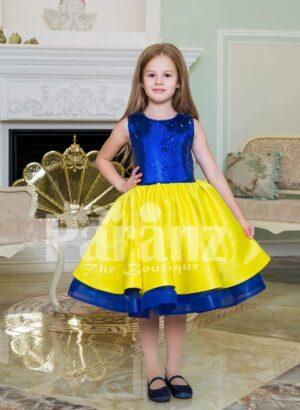 Bright blue-yellow tea length tulle skirt sleeveless satin party dress for girls