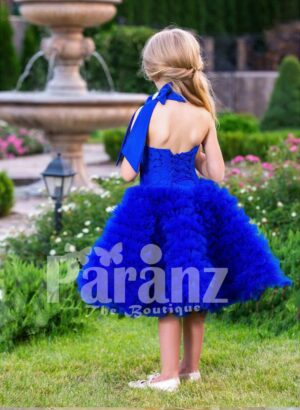 Bright royal blue close neck baby party dress with soft cloud tea length skirt back side view