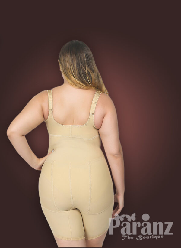 Butt enhancing tummy slimming open bust body shaper with front zipper closure new back side view