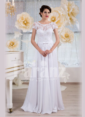 Elegant all white lacy bodice wedding gown with floor length tulle skirt