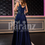 Elegant floor length pleated satin skirt evening party gown with royal sleeveless bodice back side view