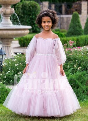 Elegant off-shoulder Arabian sleeve floor length ruffle-tulle baby party gown in soft pink