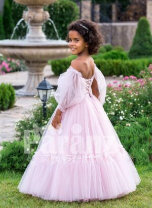 Elegant off-shoulder Arabian sleeve floor length ruffle-tulle baby party gown in soft pink side view